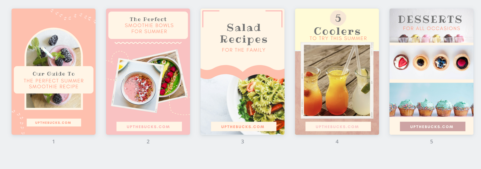 Food and Recipes Pinterest Templates