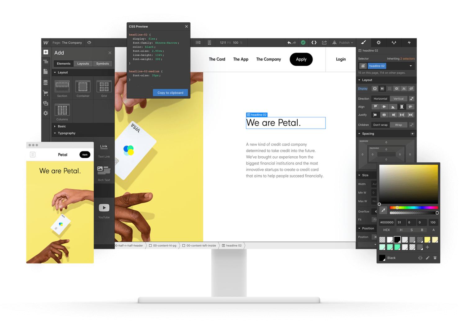 Webflow's user interface
