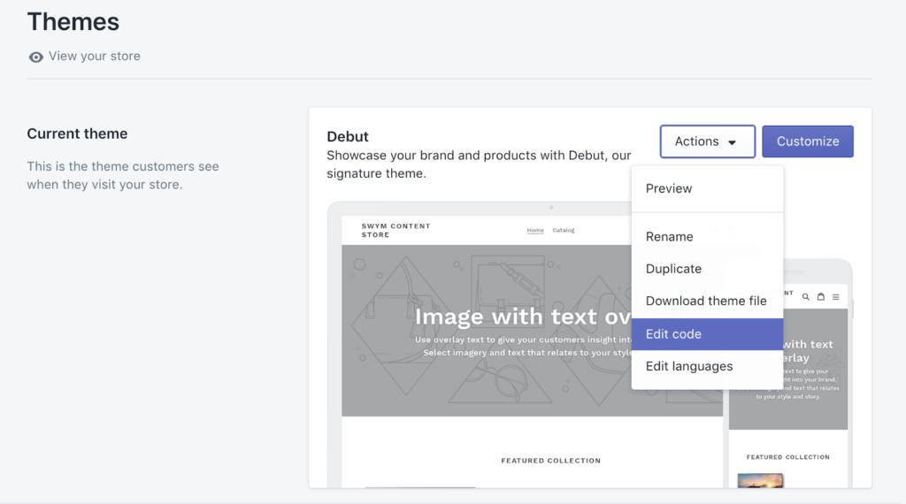 Theme Admin: Select Edit Code