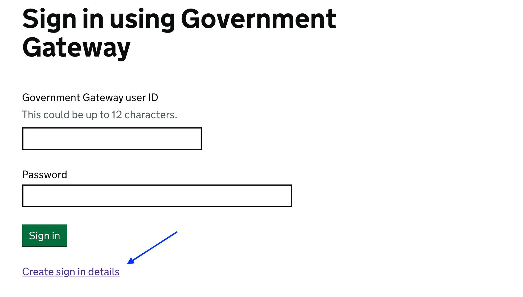Create Account on HMRC's Website