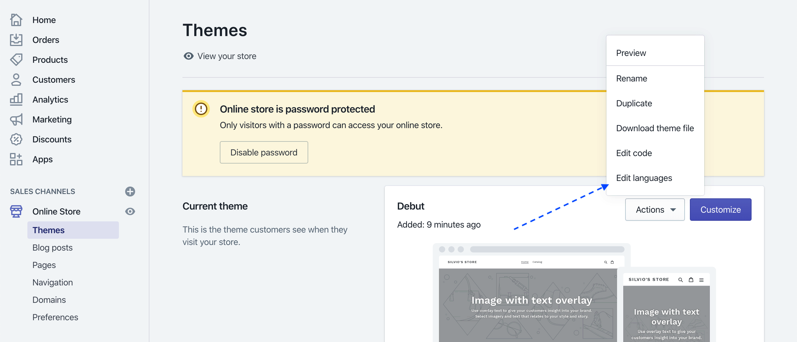 Shopify Themes: Select Edit Languages